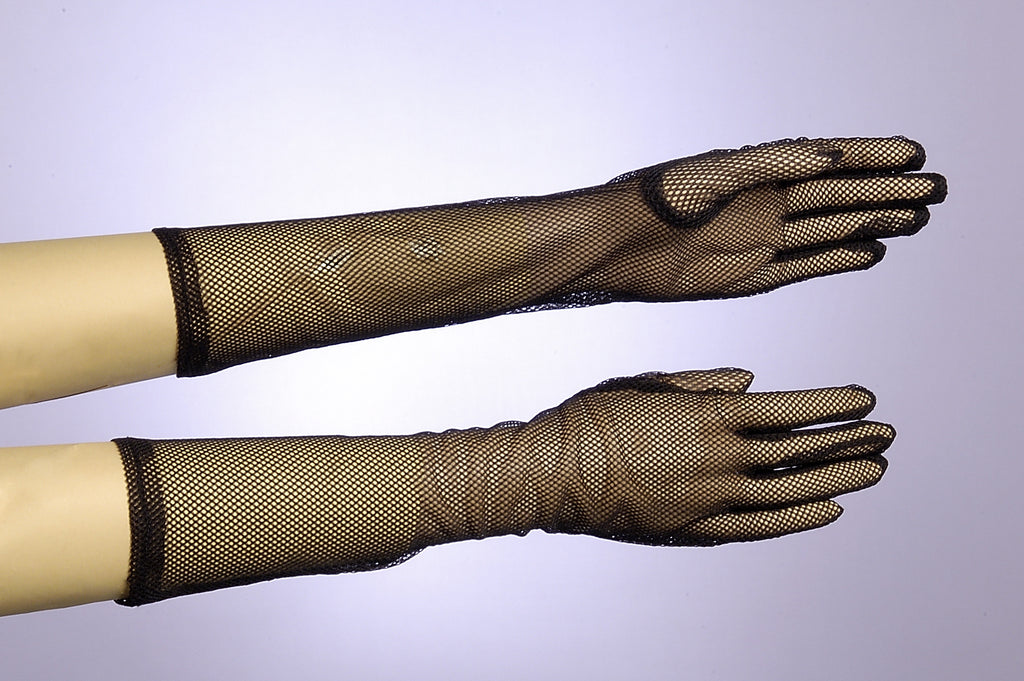 Gloves-Long Fishnet Black