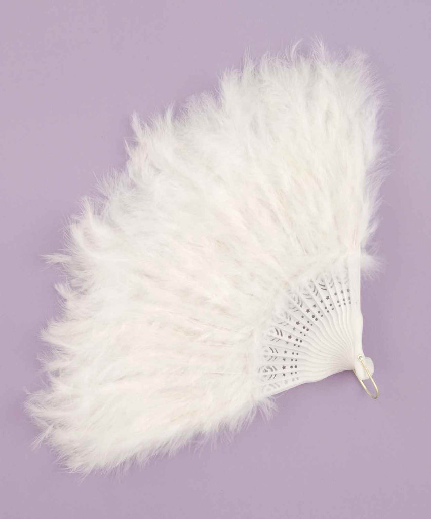 Halloween Costume Feather Fans White