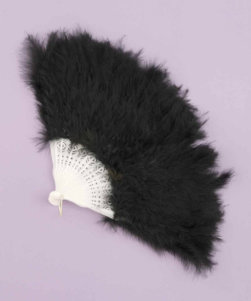 Halloween Costume Feather Fans Black Showgirl Fan