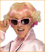 Blonde/Pink Wig with Curly Sides