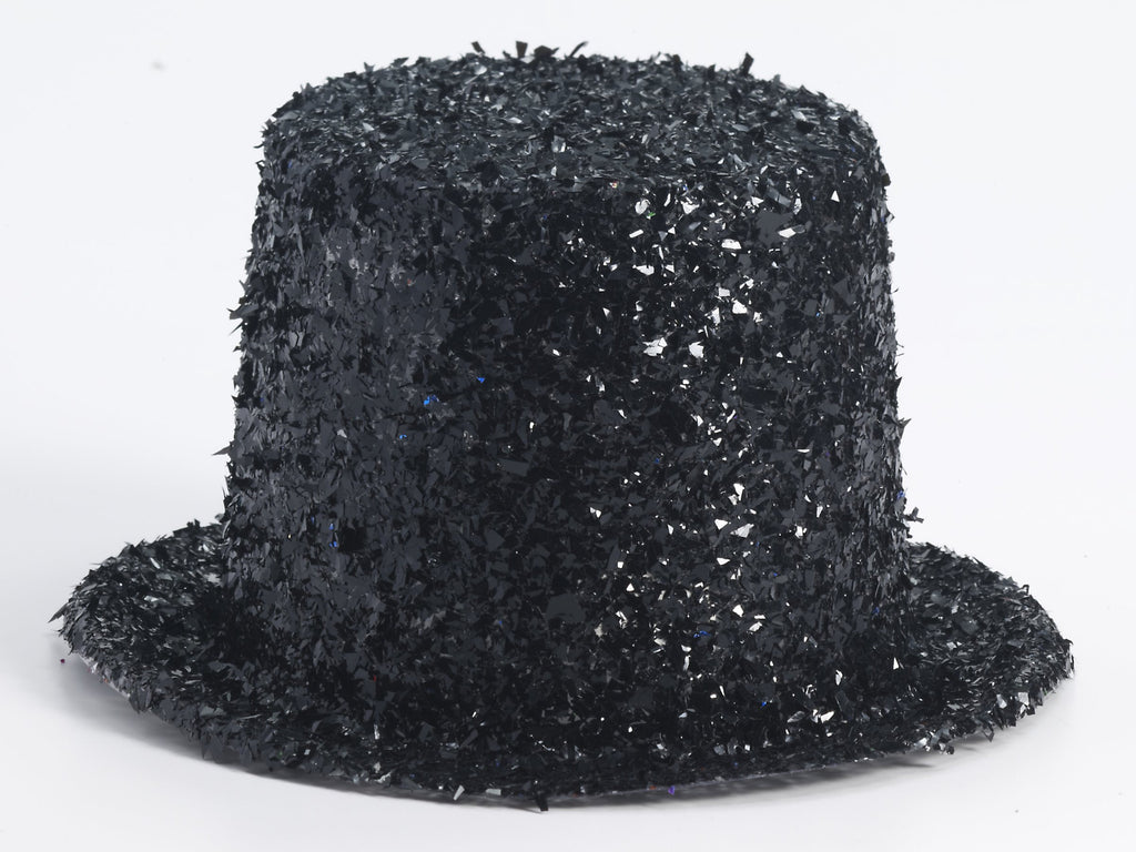 Costume Hats Black Glitter Top Hats