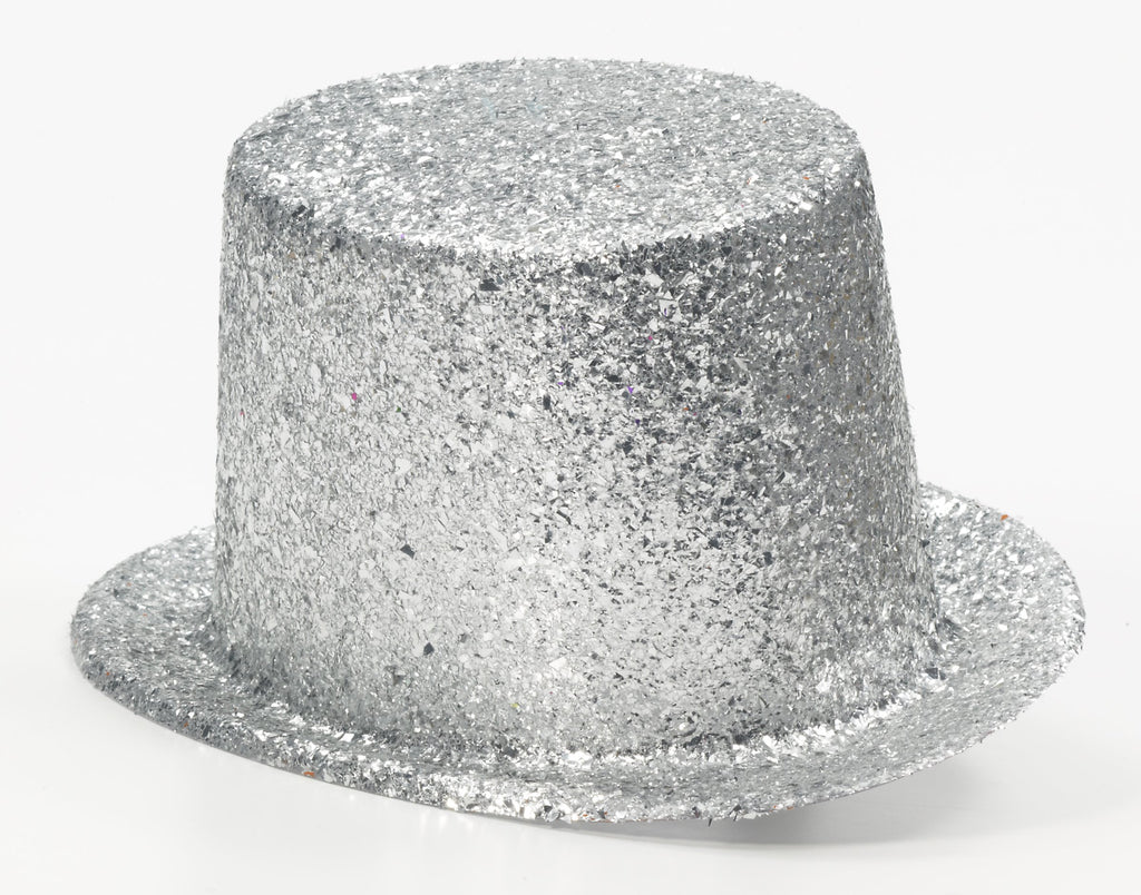 Costume Hats Silver Glitter Top Hats
