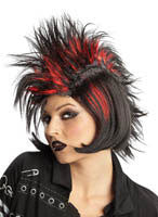 Black and Red Spikey Punk Rock It Wig