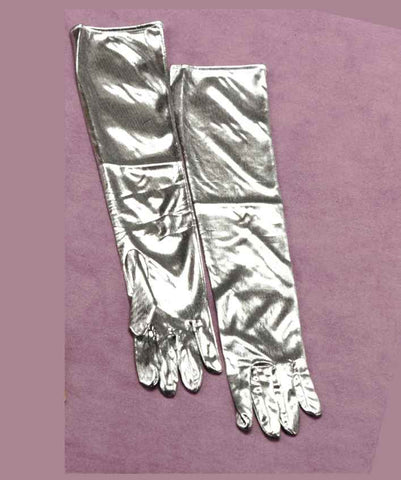 Halloween Costume Gloves Silver Lame Gloves