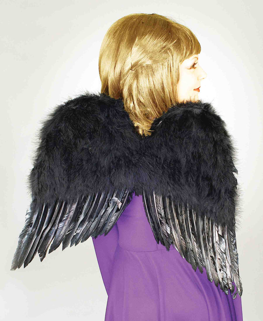 Halloween Costume Wings Black Feather Wings
