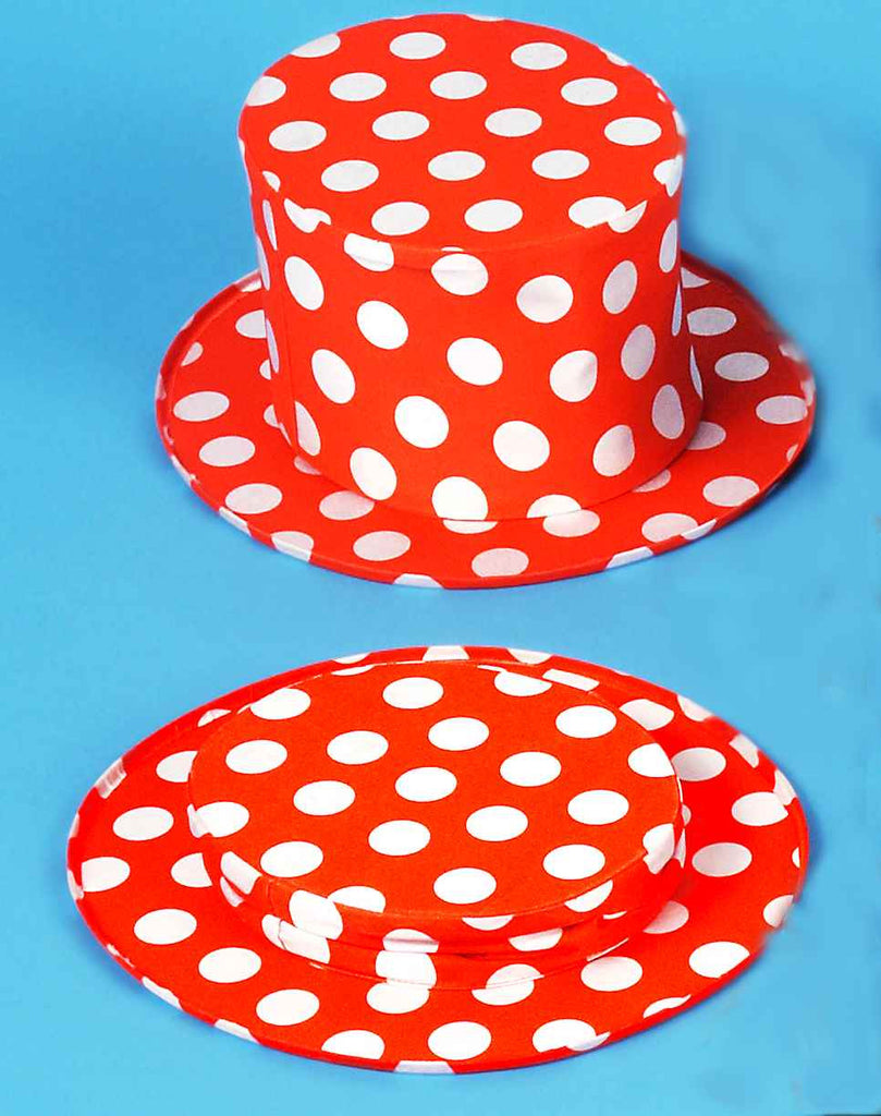 Costume Hats Polka Dot Collapasible Top Hats