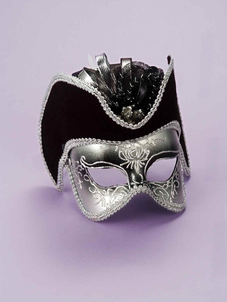 Retro Pastiche Eyemask Black and Silver