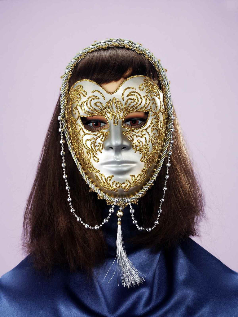 Gold/Sivler Masquerade Mask with Beads