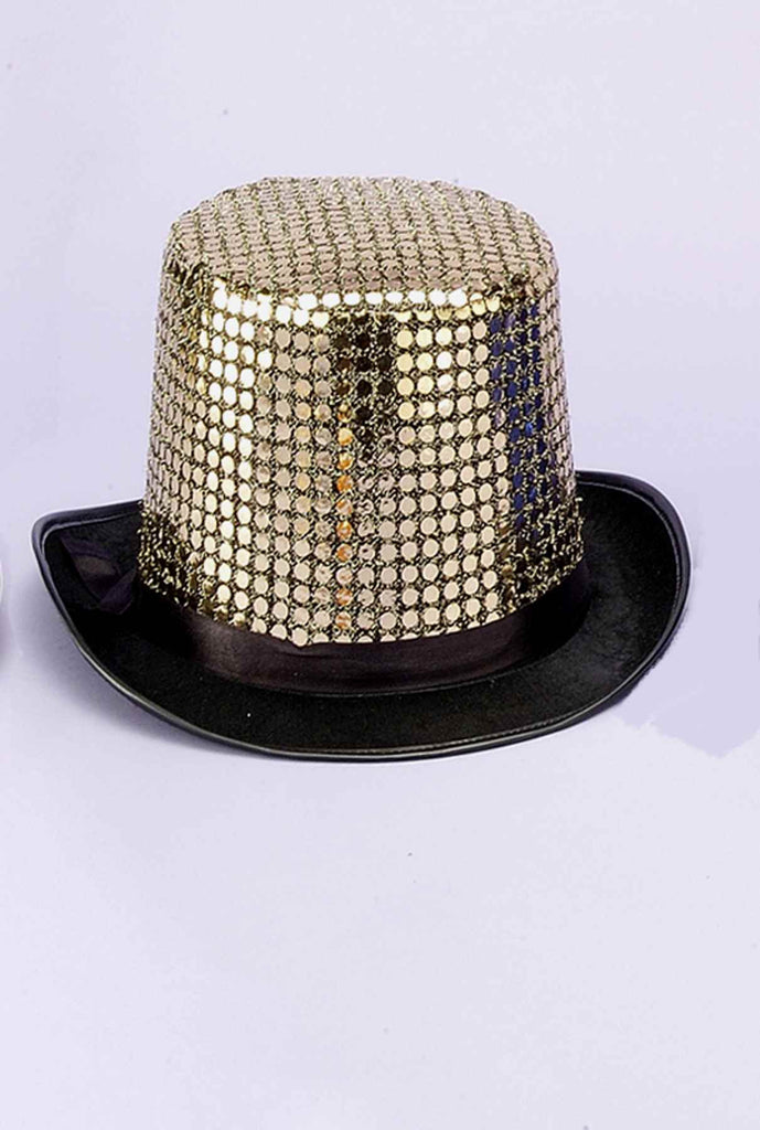 Costume Top Hats Gold Sequin Costume Hat