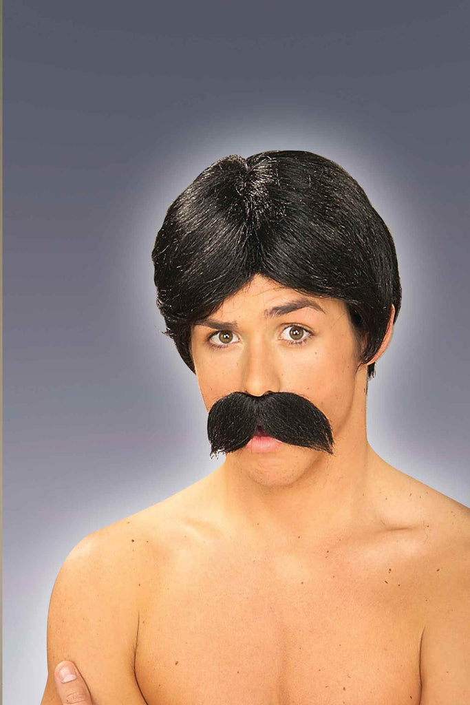 Costume Wig/Moustache Set Black