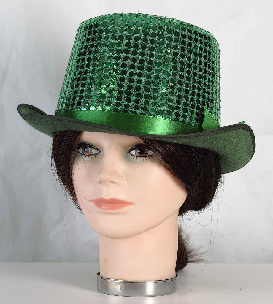 St Patricks Day Hats Green Sequin Top Hat
