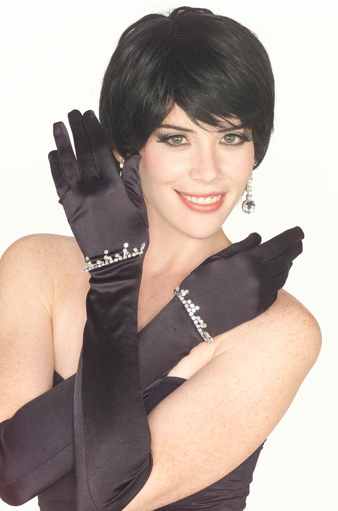 Costume Gloves Black Satin/Rhinestone Gloves
