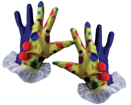 Polka Dot Clown Gloves - Blue or Yellow