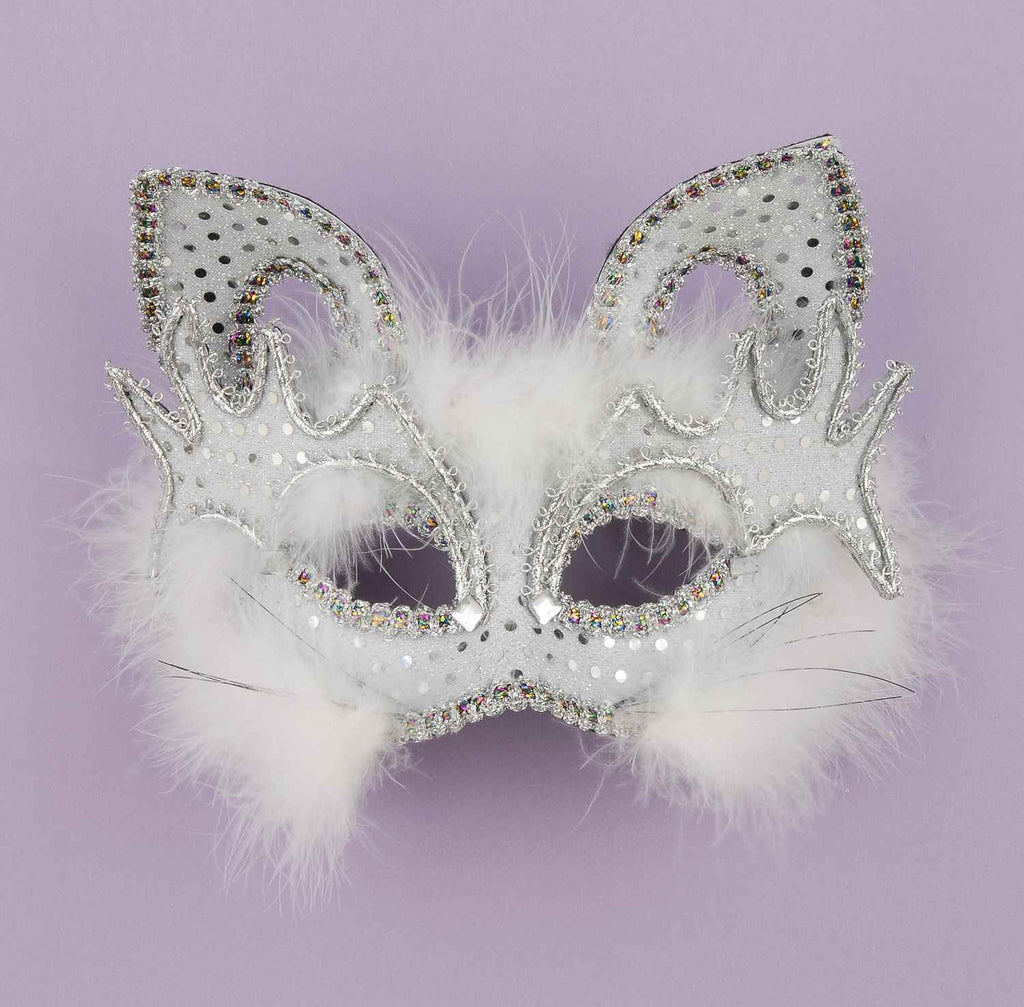 Marabou Feather White Cat Half Mask