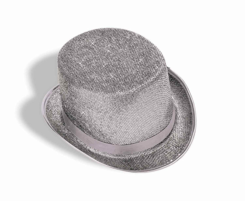 Costume Top Hats Silver Glitter Top Hat