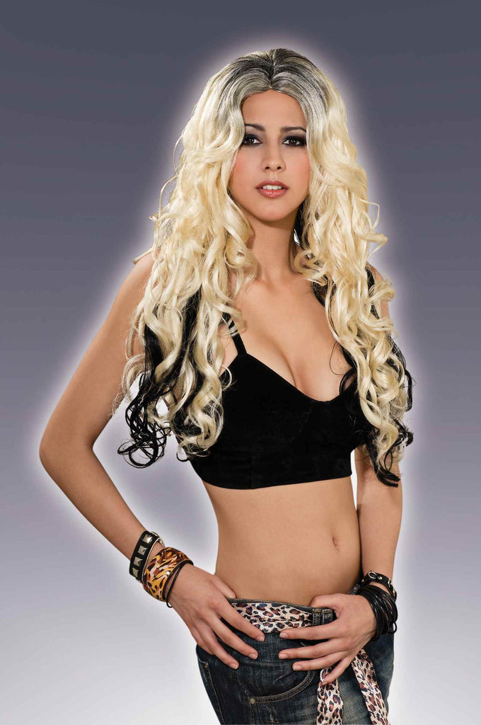 Long Blonde Curls Wig w/Black Streaks