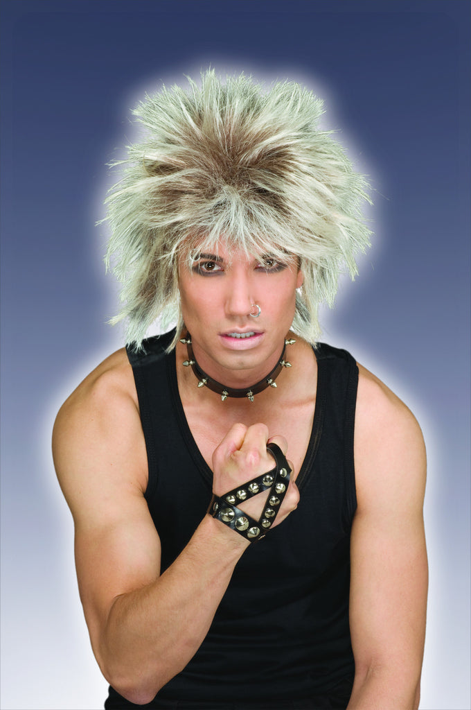 Short Spikey Blonde Rocker Wig