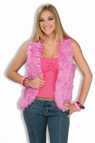 Hippie Lady Costume Vest Furry Pink