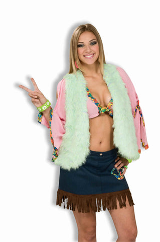 Hippie Costume Vest Furry Green