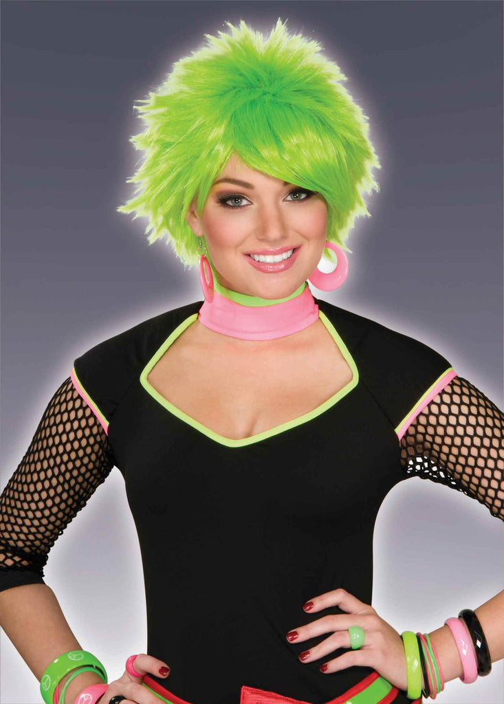 Green Costume Wigs Short Spikes
