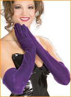 Purple Long Velvet Gloves