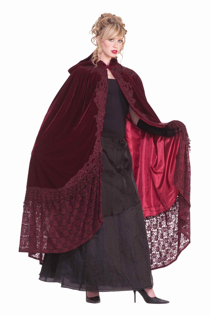 Halloween Capes Velvet and Lace Cape Burgundy