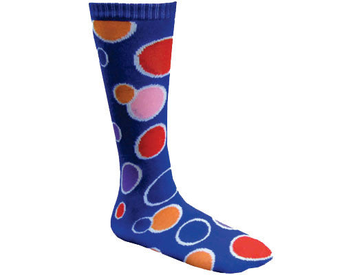 Adults Polka Dot Clown Socks - Blue or Yellow