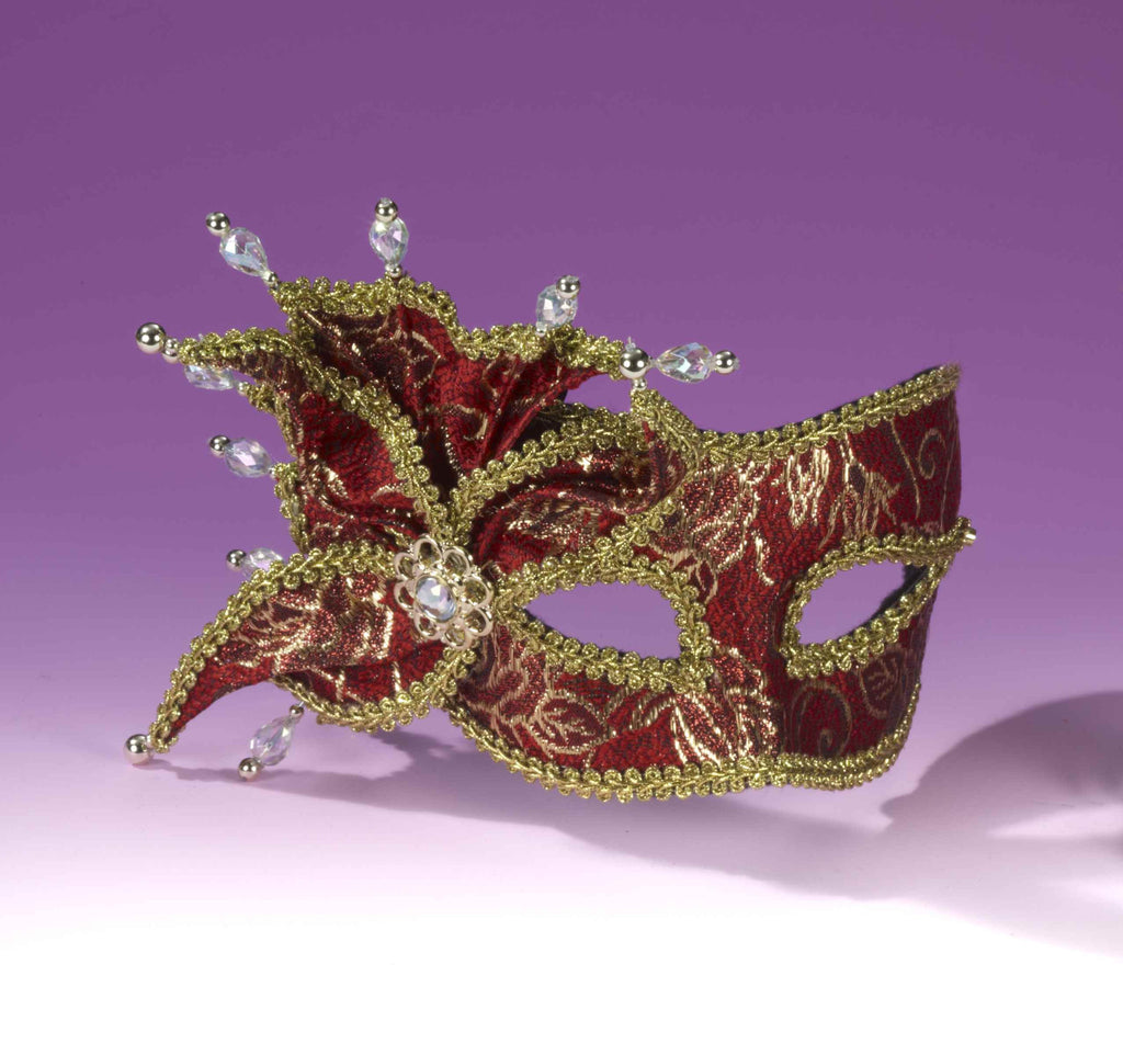 Deluxe Women's Masquerade Masks Red/Gold
