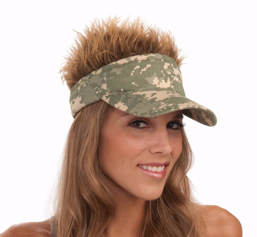 Camo Visor with Spiked Hair
