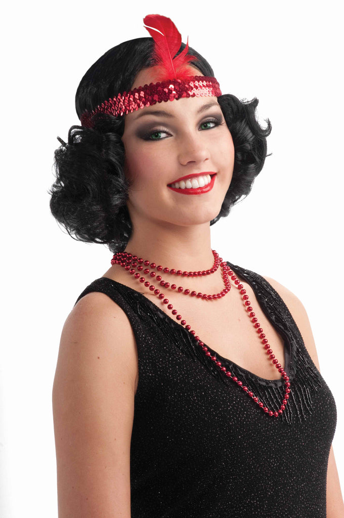 Flapper Wigs Black Flapper w/Sequin Headband