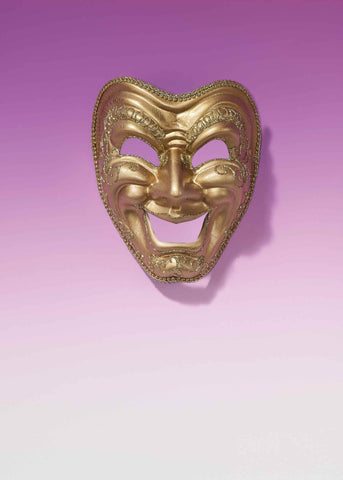 Gold Mardi Gras Comedy Face Masks