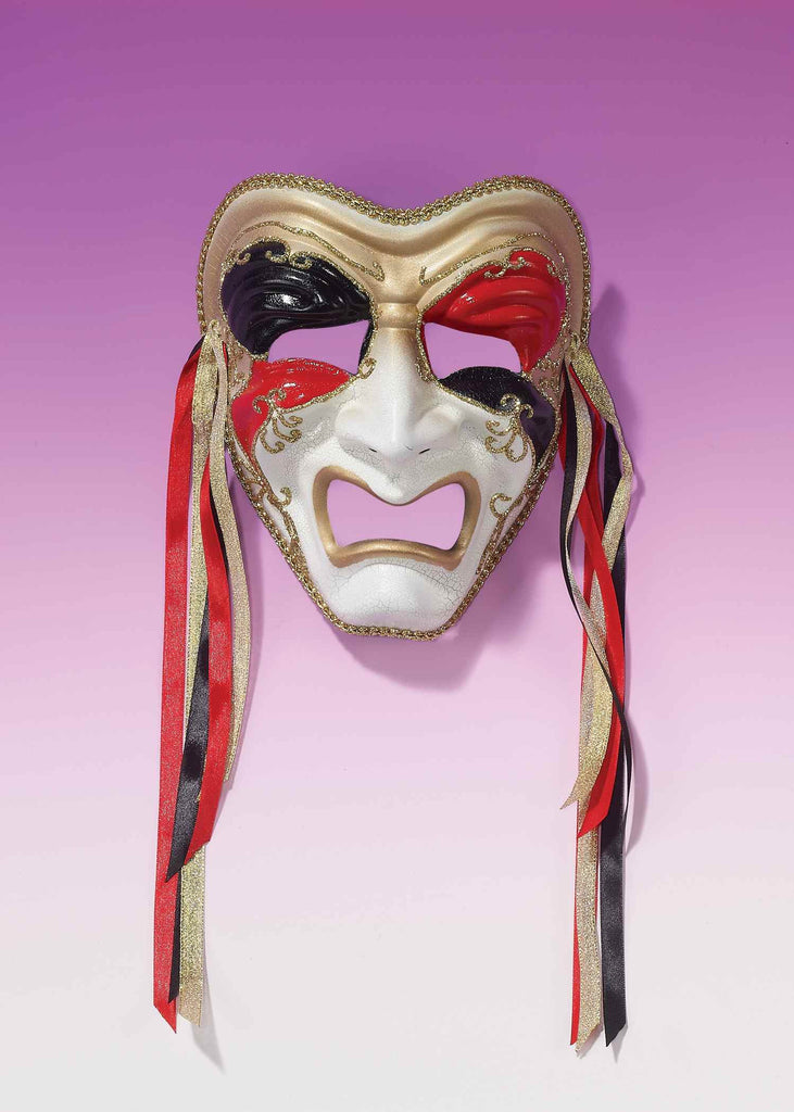 Tragedy Masks Three Color with Ribbons