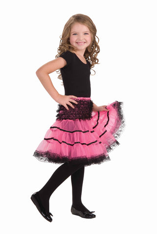 Girls Pink & Black Crinoline Skirt
