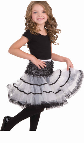 Girls White & Black Crinoline Skirt