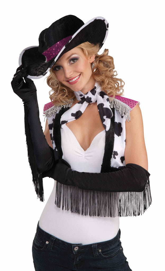 Sexy Fringe Costume Gloves Black