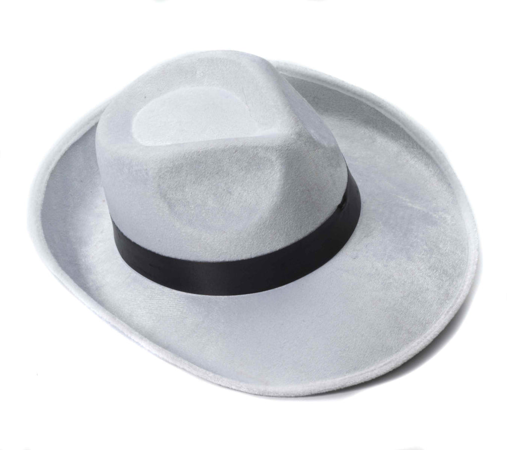 Halloween Gangster Hats White Velvet Fedora