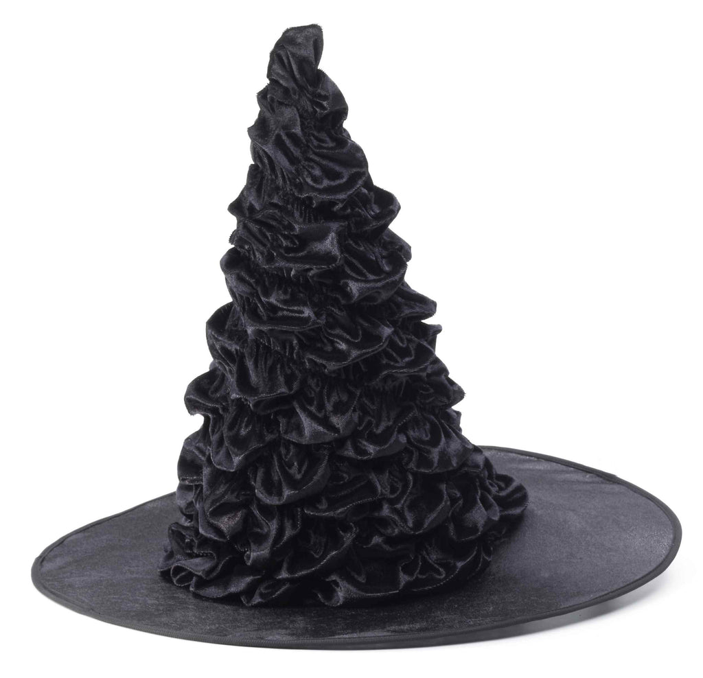Ruffly Witch Halloween Hat Black