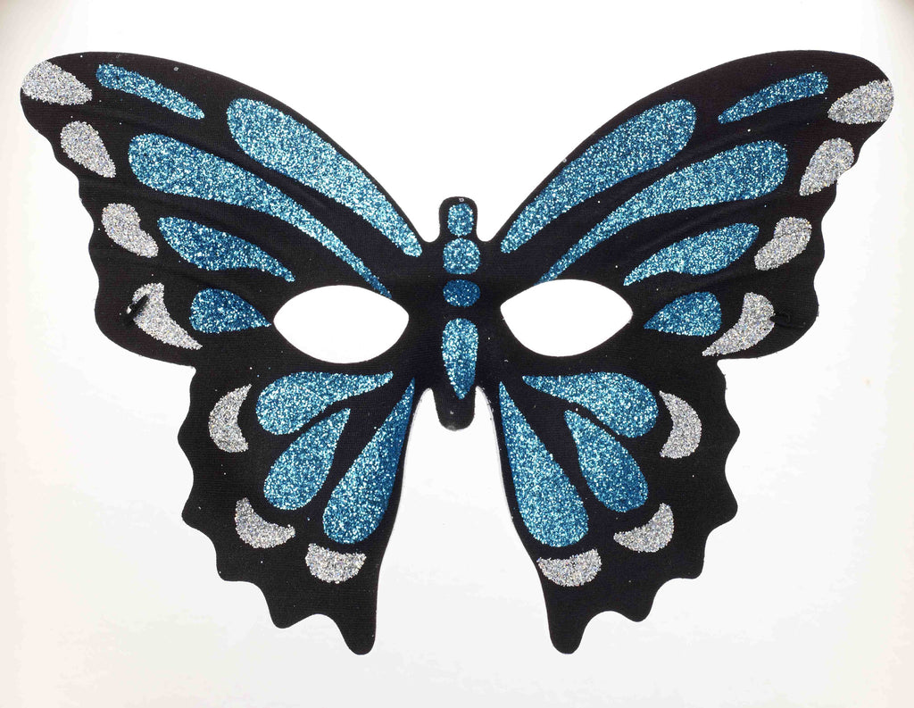 Exotic Butterfly Glitter Costume Mask Blue
