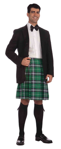 Irish Gentleman's Costume Kilt Green Plaid