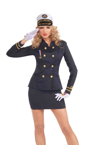 Women's Blue Naval Officer Halloween Costume Jacket
