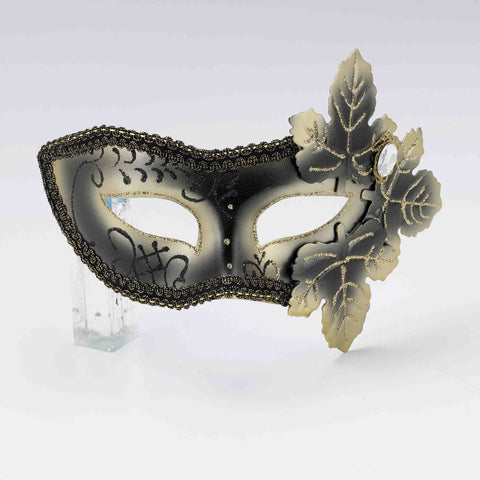 Black & Gold Venetian Mask with Leaves