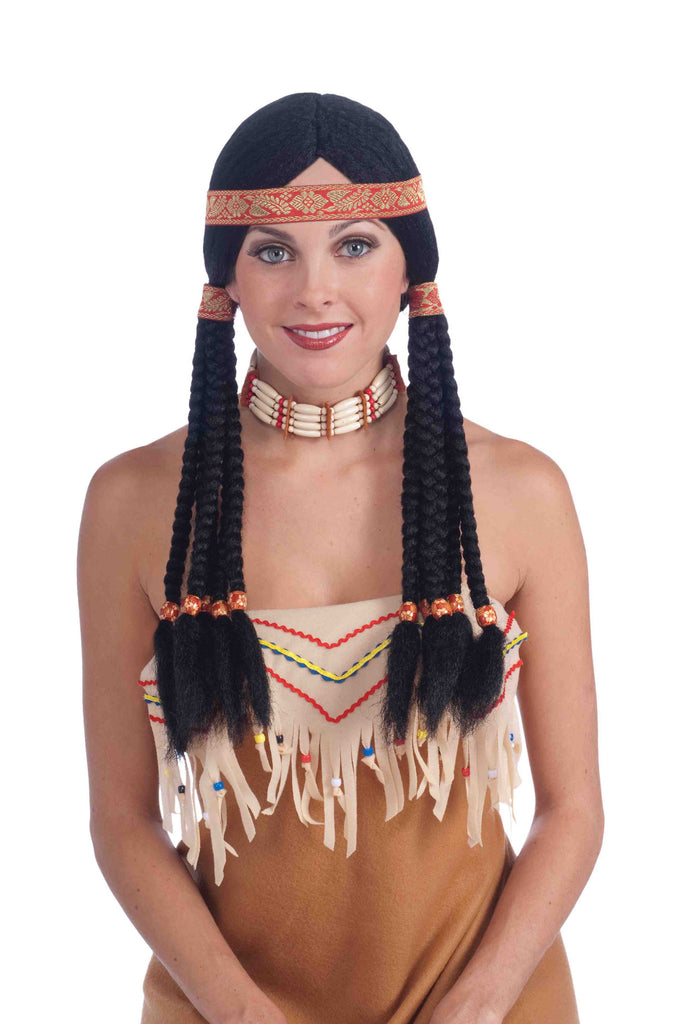 Deluxe Native American Squaw Braids Wig
