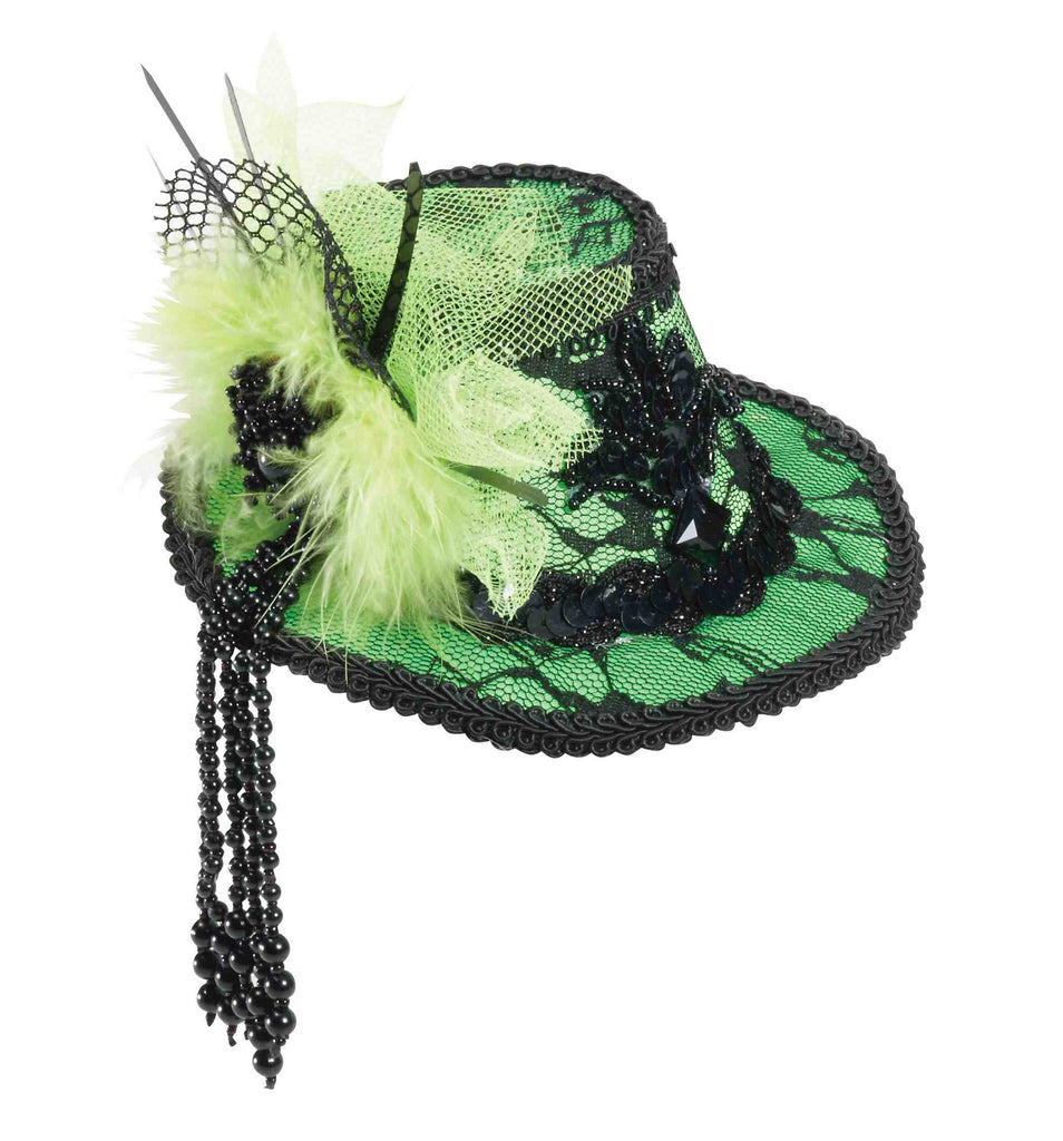 Ladies Green Mini Lace Trim Top Hats