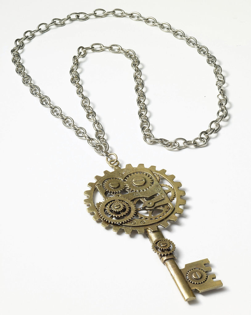 Steam.Copper Key/Gear Necklace