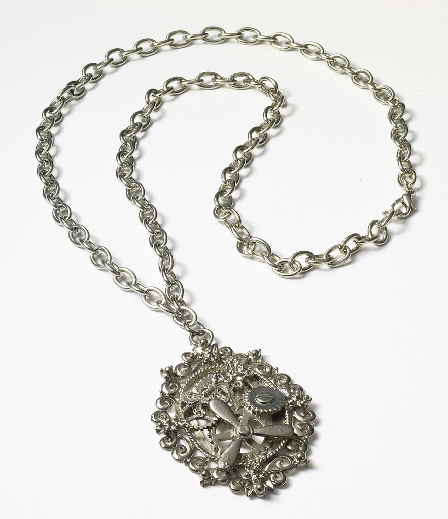 Steampunk Silver Gear Necklace