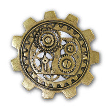 Steam.Bronze Lrg Gear Brooch