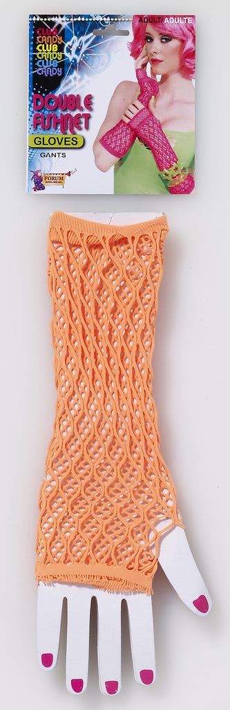 Double Fishnet Gloves-Orange