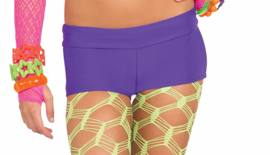 Neon Solid Booty Shorts-Purple