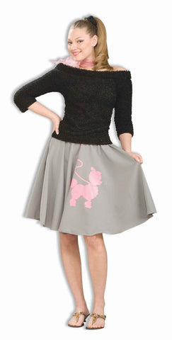 Women's 50's Costume Poodle Skirt Grey