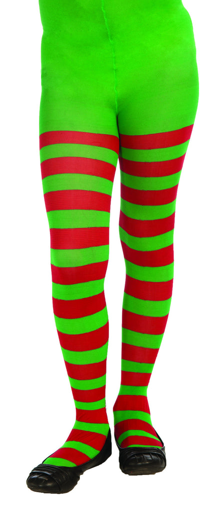 Kids Green & Red Striped Tights